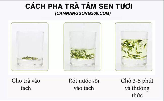 cách nấu trà tim sen